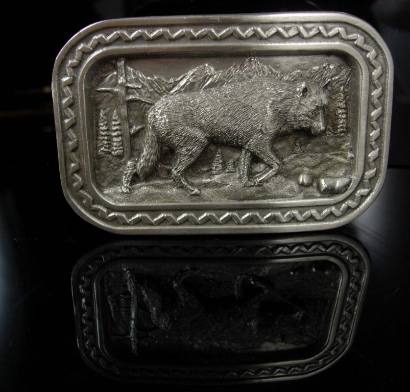 Indian Belt Buckle Howling Wolf buckle silver 1984 silver native american huge trucker biker jewelry Siskiyou