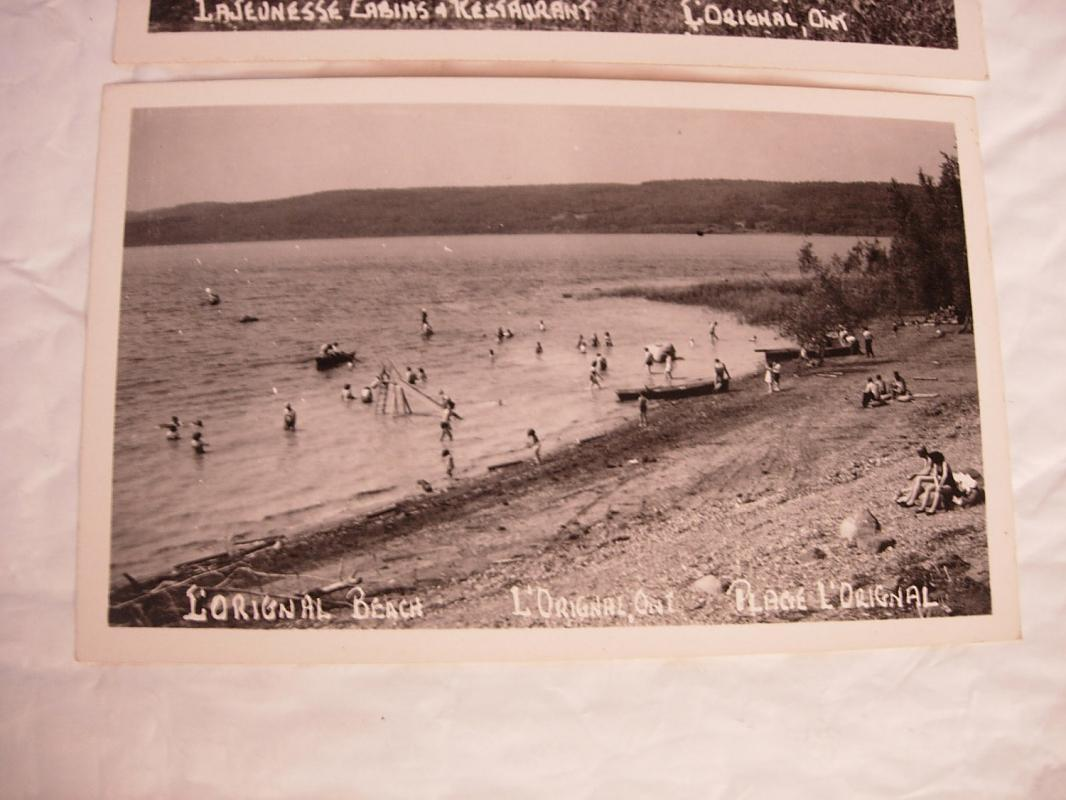Set of Three Vintage RPPC Real Photo Postcards  LaJeunesse Cabins Restaurant  L'Orignal Beach L'Orignal Ontario canada