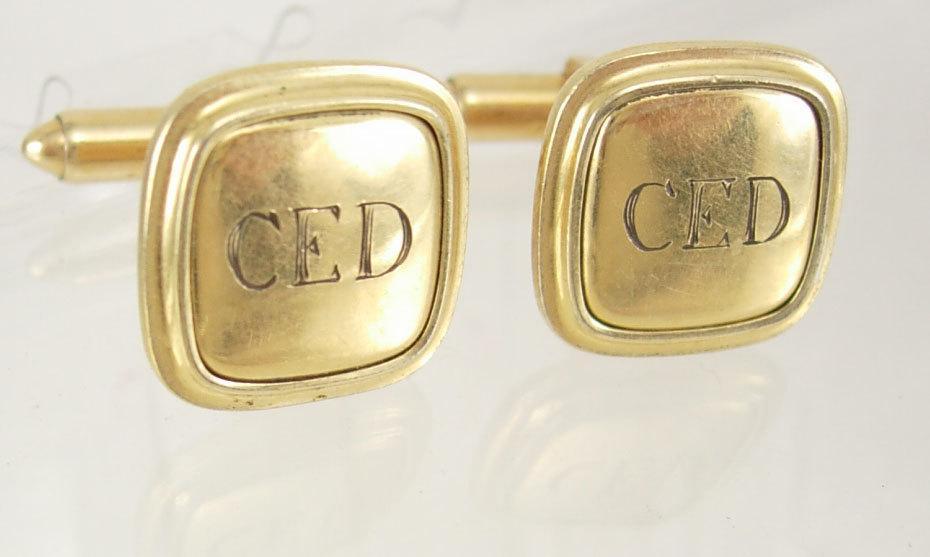 Vintage gold filled cufflinks Monogrammed  initial CED signet Krementz Wedding groom gift mens business suit  birthday present anniversary