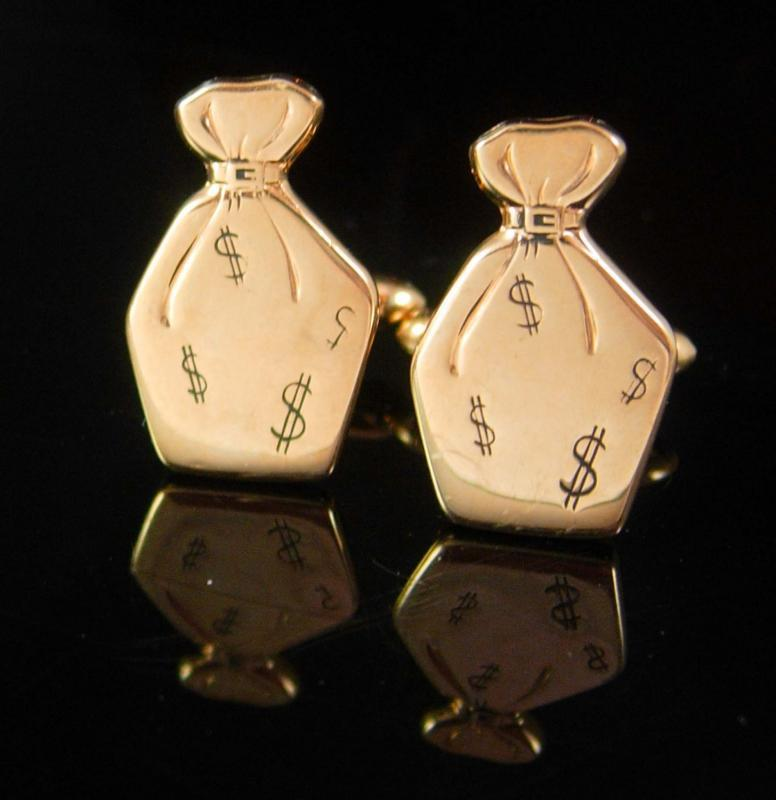 Banker Cufflinks Money bags Rich Vintage Wallstreet Banking financial Swank lottery businessman cool mens gift father of the bride