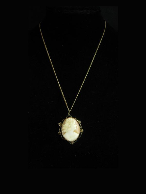 12Kt gold filled Genuine Cameo necklace antique cameo brooch pendant necklace Vintage Ladies