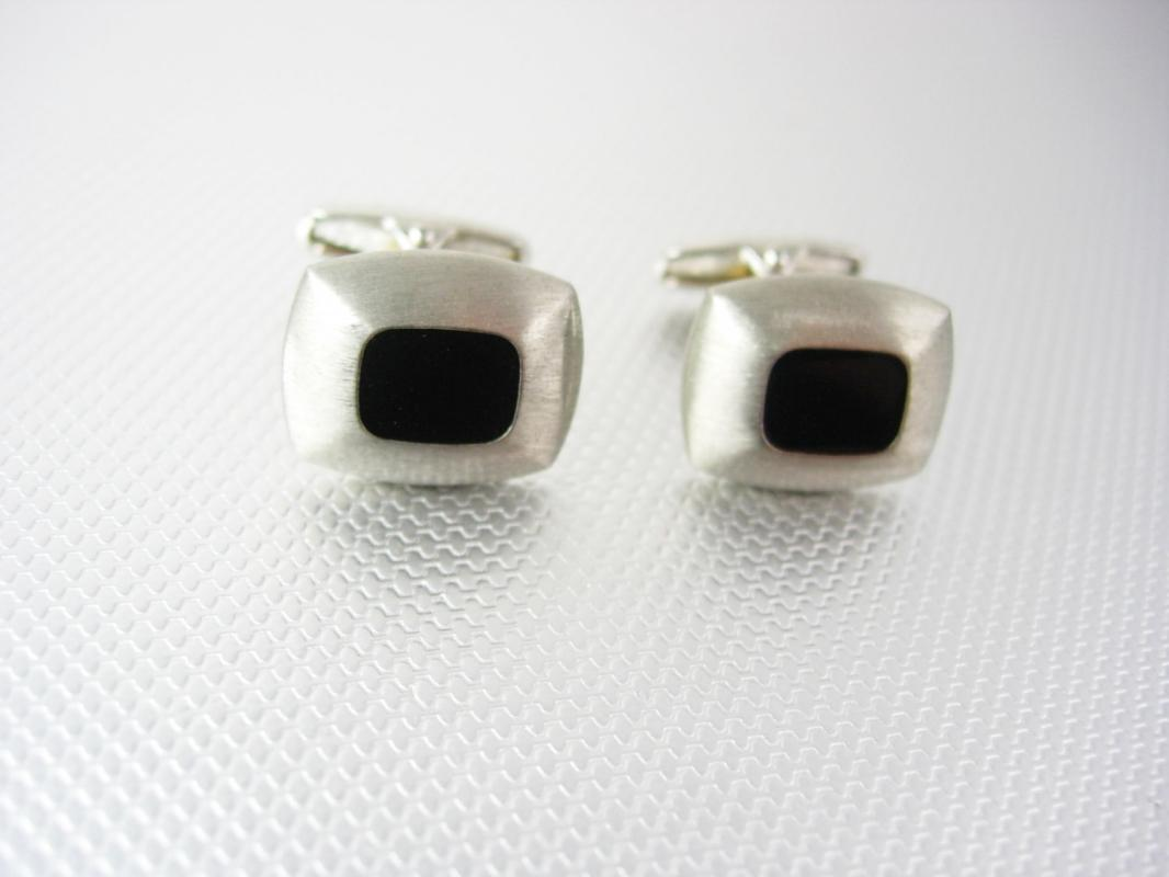 Brushed Silver Cufflinks Vintage Black Enamel Unique Angled Posts High Quality Heavy Heirloom Estate jewelry mens wedding jewellery