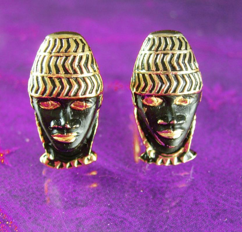 Blackamoor cufflinks Vintage enamel black americana Cuff links Theater Masks African American figural face Caricatures Swank designer