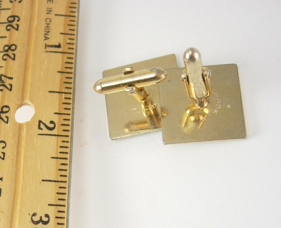 Swank Pop Art Cufflinks Enamel Matrix Square gold cuff links mens jewelry