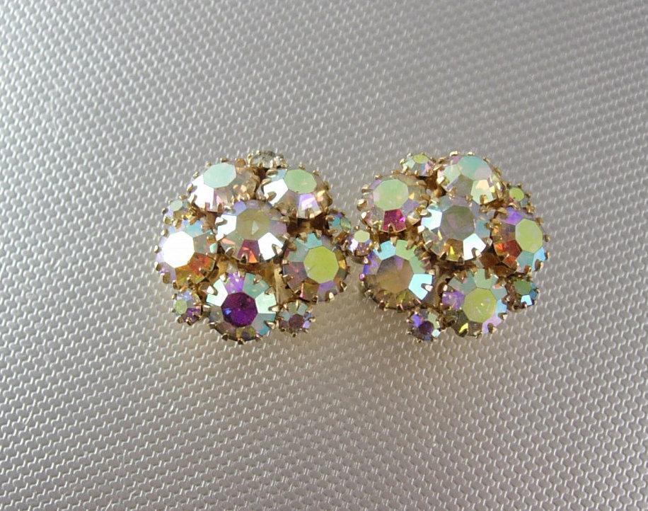 Glitzy Cuff links Aurora Borealis Rhinestone Cufflinks Vintage Gold  dazzling set formal wear flashy tuxedo accessory