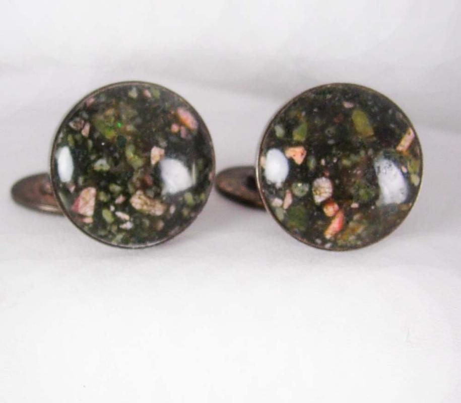 Unusual Cuff links Hallmarked BLOODSTONE cufflinks Antique Cufflinks Sterling Silver 13.8 Grams Clothing one of a kind Accessory
