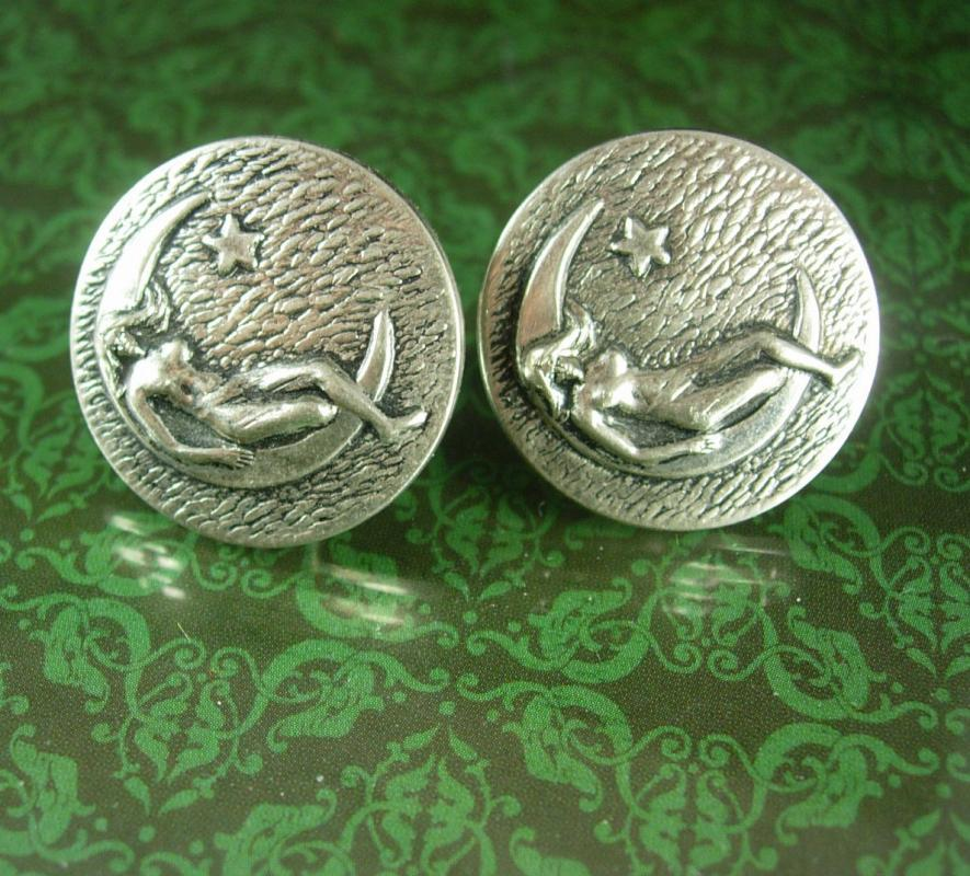 I Promise the Moon & stars Cufflinks art nouveau mystical silver art deco goddess Nude erotic woman wedding valentines day