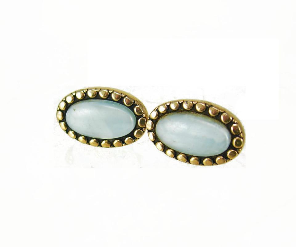Swank cuff links baby blue pearlized slag cufflinks vintage rivot design Gold  Oval wedding jewelry victorian design ladies mens