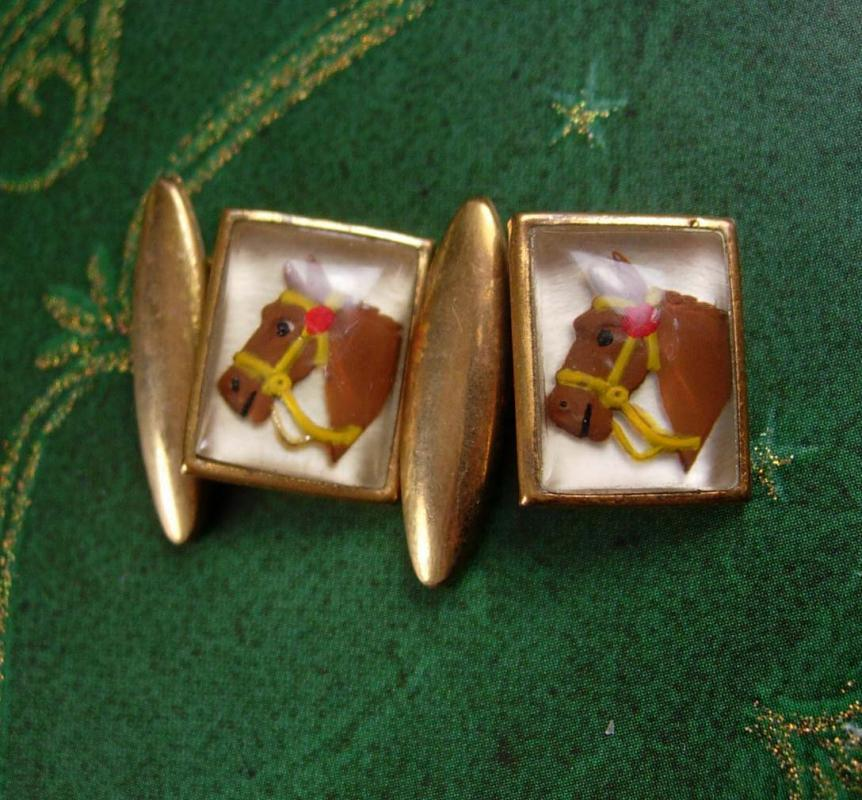 Vintage Essex Glass Cufflinks Reverse Painted Horse Equestrian Wedding rodeo cowboy jewellery victorian accessory cuff links