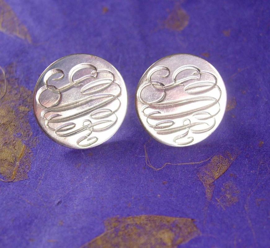 MONOGRAMMED Sterling Earrings Vintage Hinged Screw backs Signet Women's Jewelry