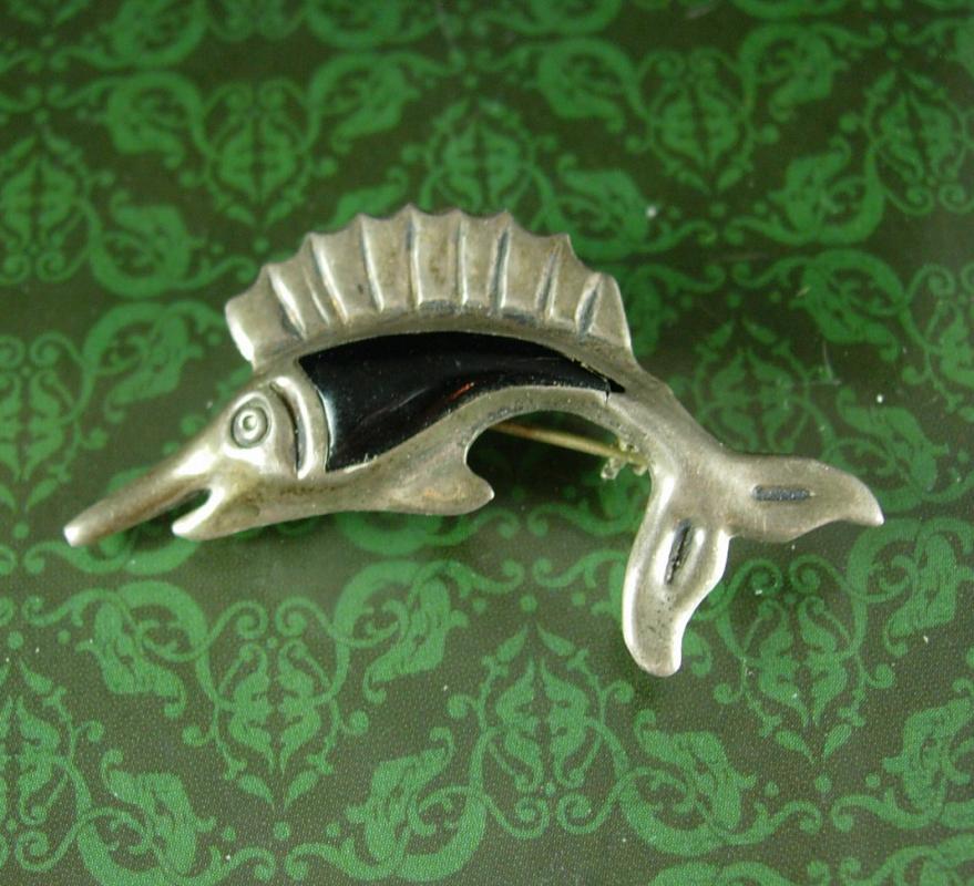 Sterling signed Swordfish Brooch mexico GOH Eagle 192 Lapel Pin Vintage Marlin Sailfish Fishing Outdoors Fish Nautical retirement gift