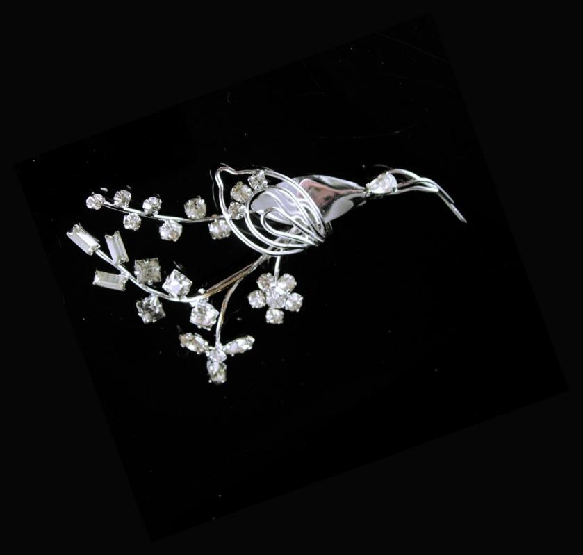Vintage Rhinestone Crane Egret Heron Bird Brooch Square Round Baguettes Silver Anniversary Wedding gift