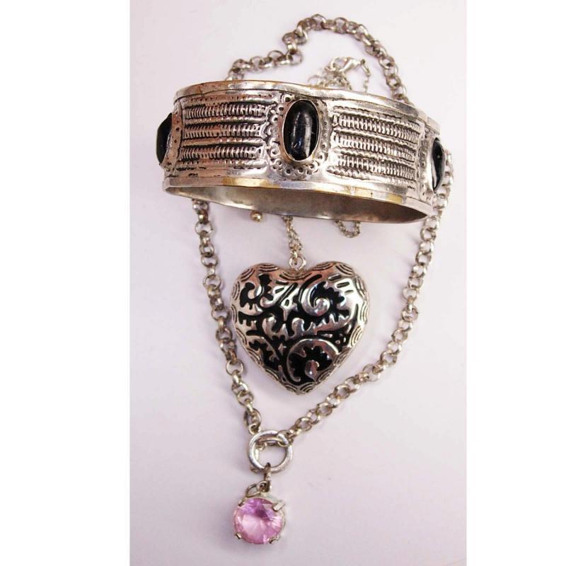 Vintage puffy heart necklace European bangle bracelet pink rhinestone necklace jewelry lot