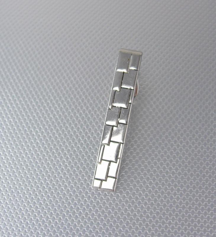 Interlocking Tile Design Tie Clip Swank Silver alligator look designer mens accessory cuff link accessory Tie bar