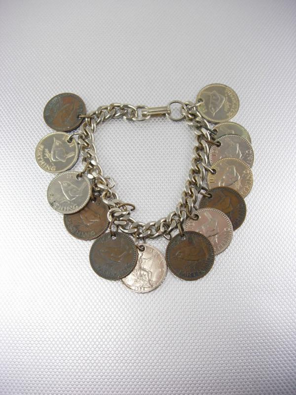 Vintage English Coins Charm Bracelet Silver Cuban Chain Elizabeth II George VI Farthing Collectors