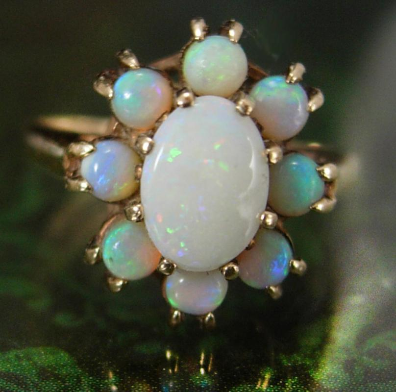 10kt gold VINTAGE Opal Ring 2 1/2CT ladies size 4 3/4 October birthstone Aries Libra Scorpio Pierced silver art deco  Cupid stone Size 6 1/2