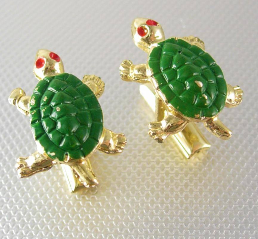 Whimsical Sea Turtle Cufflinks Vintage Figural Gold  Red Green Enamel Marine Life Cuff Links Wildlife Oceanic Nautical Novelty