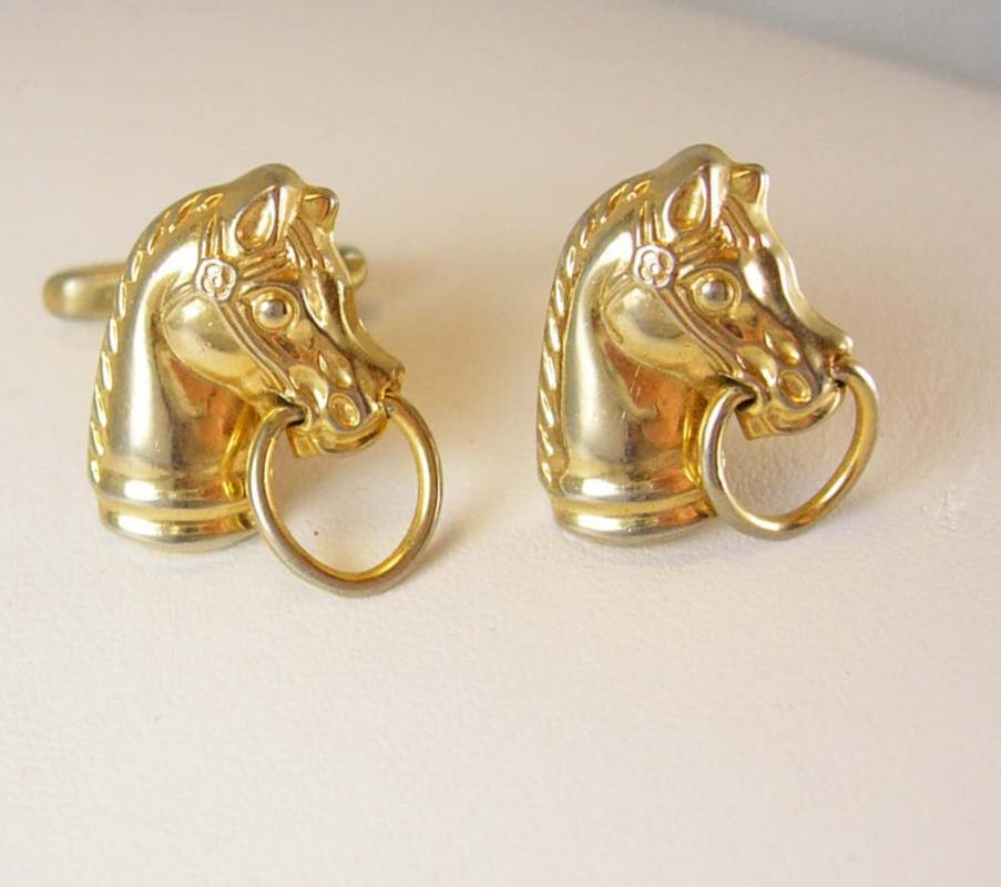 Vintage mechanical horse Hickok cufflinks Wild west equestrian chess knight doorknocker housewarming gift gold mens jewelry cuff links