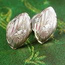 Antique Victorian Cufflinks engine turned Silver Double sided wedding gift