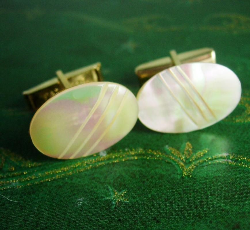 Exquisite Wedding Cufflinks MOP mother of pearl gold carved Good luck prosperity patent pending mens formal wear estate jewelry
