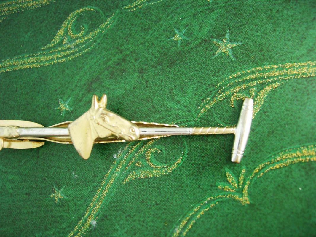 Horse Tie clip Equestrian  Polo Stick Mallet Racing pony Sports Athletics Competition hickok tie clip Tie bar