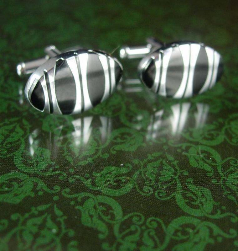 Black Tuxedo cuff links  stripe Silver classic Vintage Cufflinks Set Striped  Men's modernist Clothing Accessory wedding groom gift