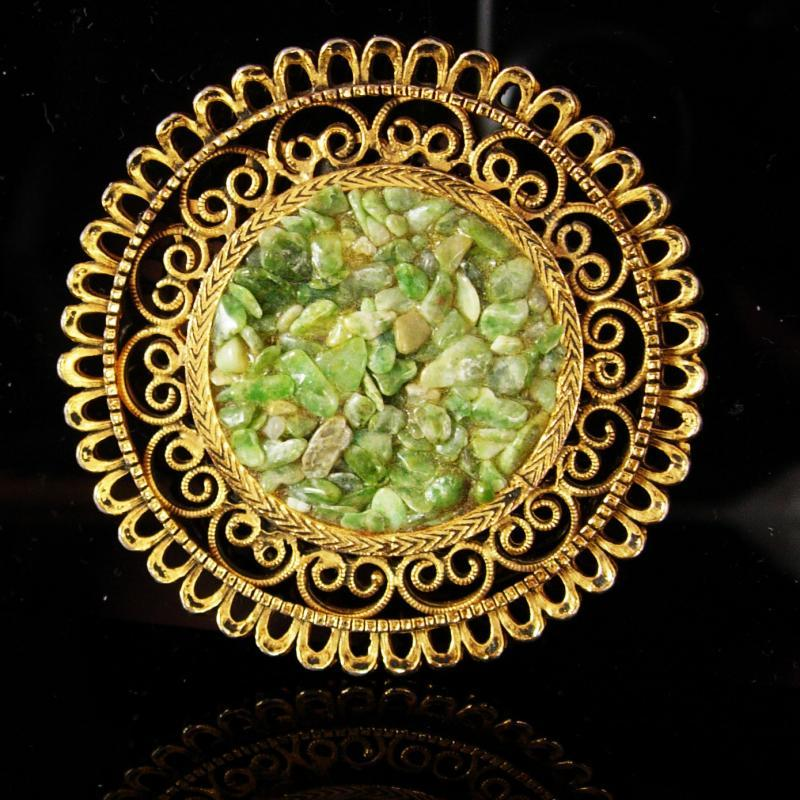 HUGE brooch Vintage Gold filligree statement jewelry Oriental Lucky Gemstone Fine Jewelry