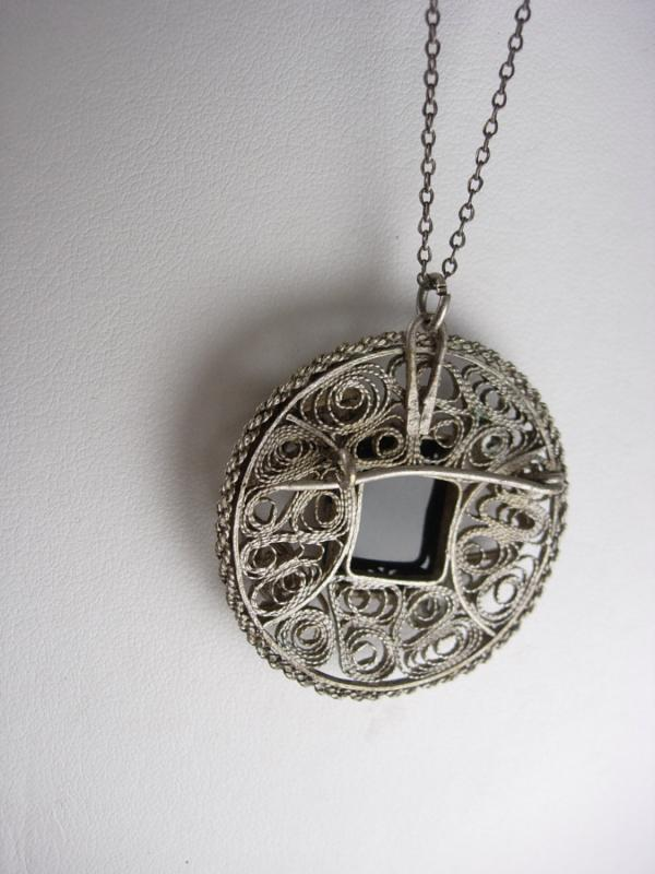 Delicate Victorian SILVER FILIGREE Brooch Necklace Black Onyx 20 inch silvertone chain Fancy Wire Work Fine Jewelry