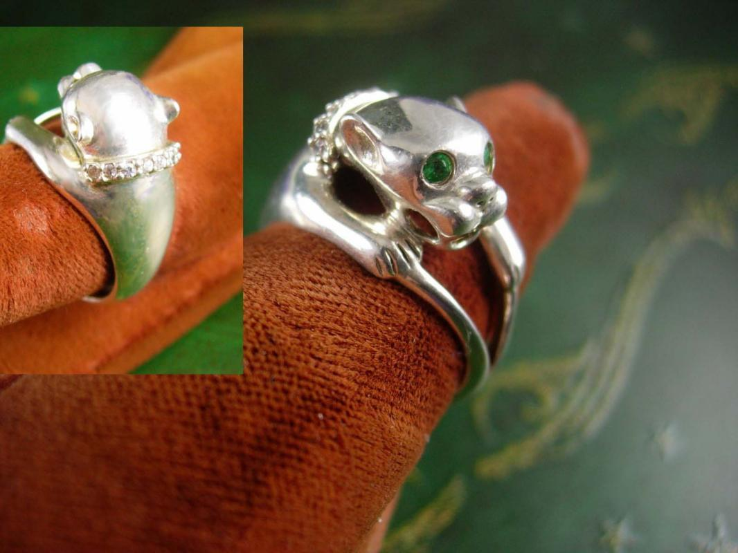 Sterling Cougar Ring Vintage Green emerald jeweled Eyes Silver 4.7 Grams Royal Lion Panther Size 6 3/4 Women's Fine Jewelry