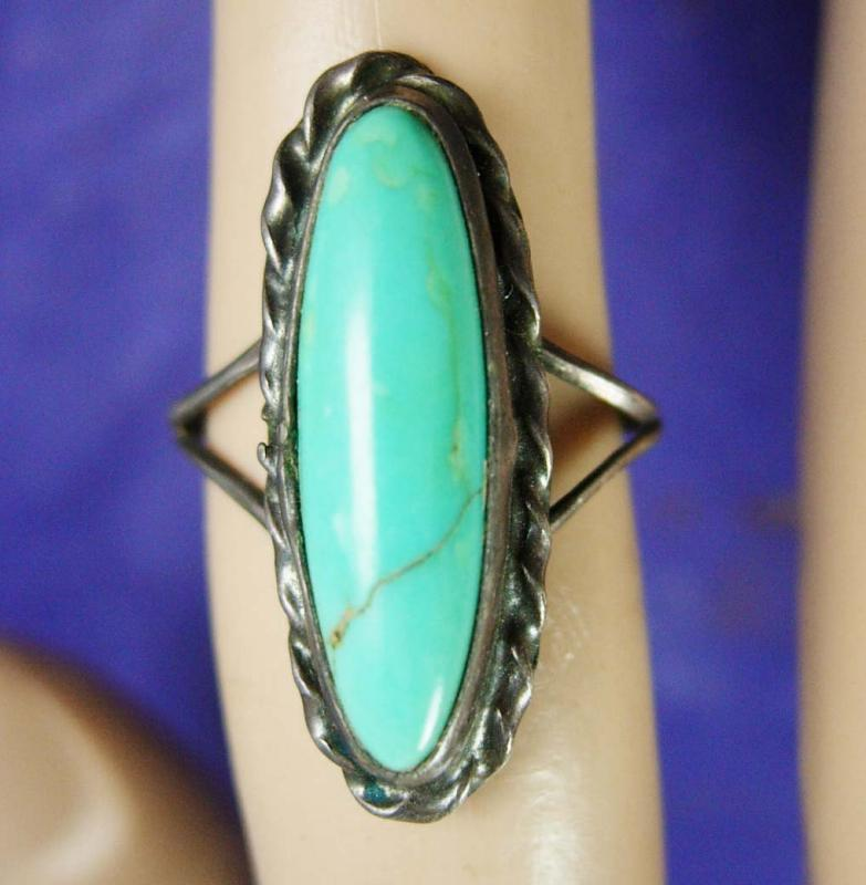LONG Turquoise Ring Vintage sterling silver Size 3 1/2 Women's 5th &11th Anniversary native american southwest Statement Jewelry 2.6 grams