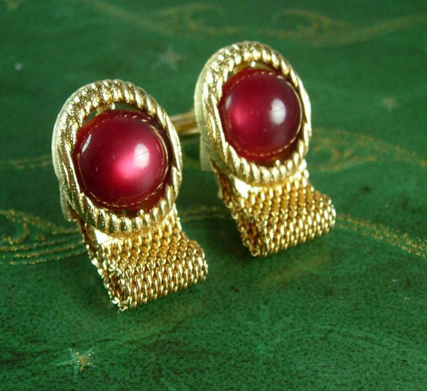 Cranberry Cufflinks Vintage moonglow wedding Tuxedo cuff links Swank mens accessory unisex gift