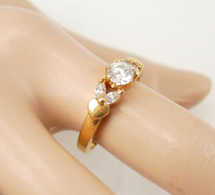 Engagement Ring Vintage Hearts  band CZ  size 7 1/2 Marquise  Wedding Anniversary womens ladies jewelry