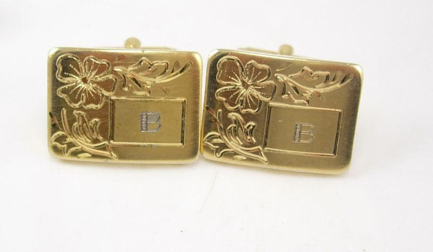 Wedding jewellery signed Flex Let Vintage Letter B personalized Cufflinks Victorian Flower Fathers Day engraved Wedding gold cuff links