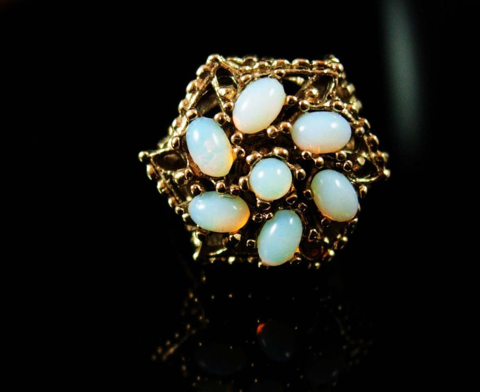 VINTAGE Opal Ring 14kt HGE signed ladies size 6 faux CLUSTER October birthstone Aries Libra Scorpio  Cupid stone