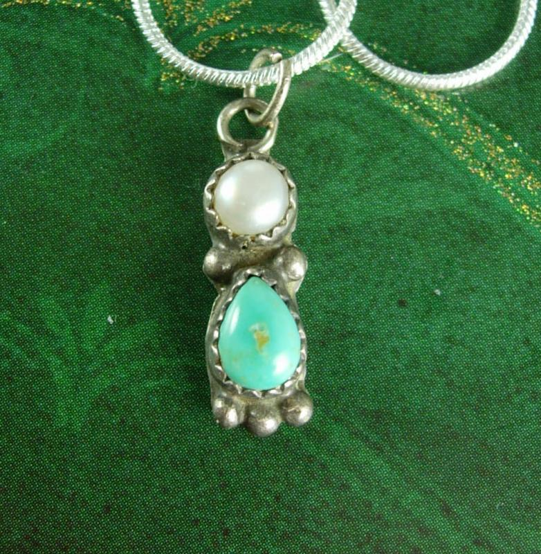 Vintage Indian Sterling Pendant Necklace Chain Turquoise pearl figural silver petite teardrop