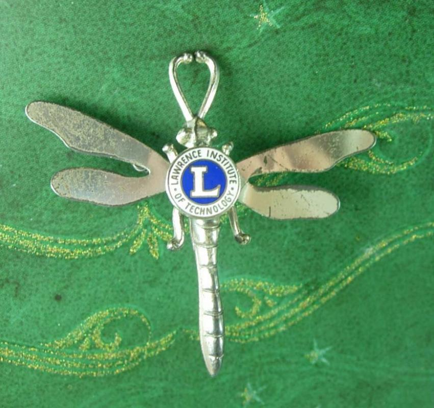 Large sterling Dragonfly brooch pendant Trembler College  Lawrence Institute of Technology michigan