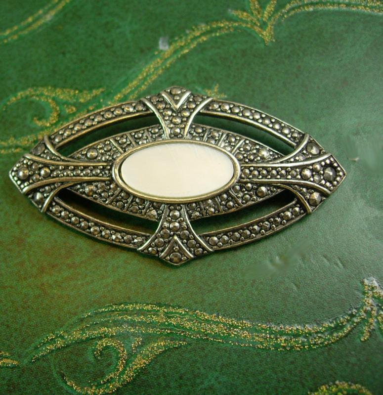 Large Fancy Art deco Style brooch mother of pearl faux marcasites ladies jewelry silver gift