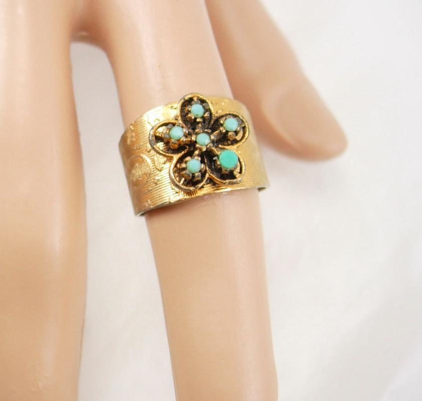 Vintage Turquoise Color Ring Wide Band  Brushed Golden Color Birthday Friendship