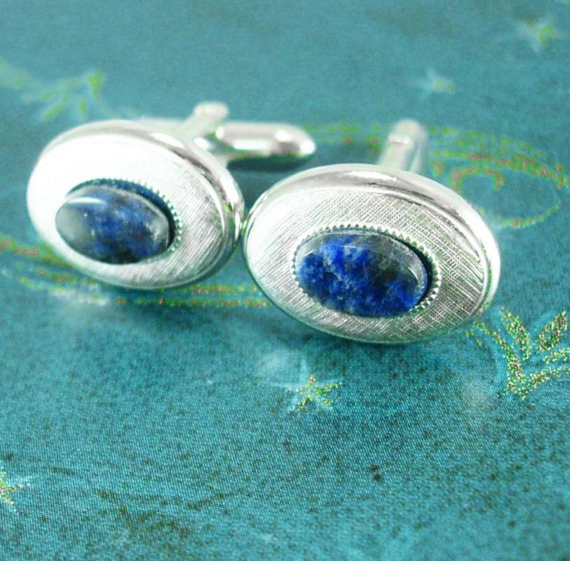 Blue Lapis Cufflinks Cabochon Vintage Brushed Silver SWANK Designer Fine estate Jewelry formal wear mens acccessory cuff links