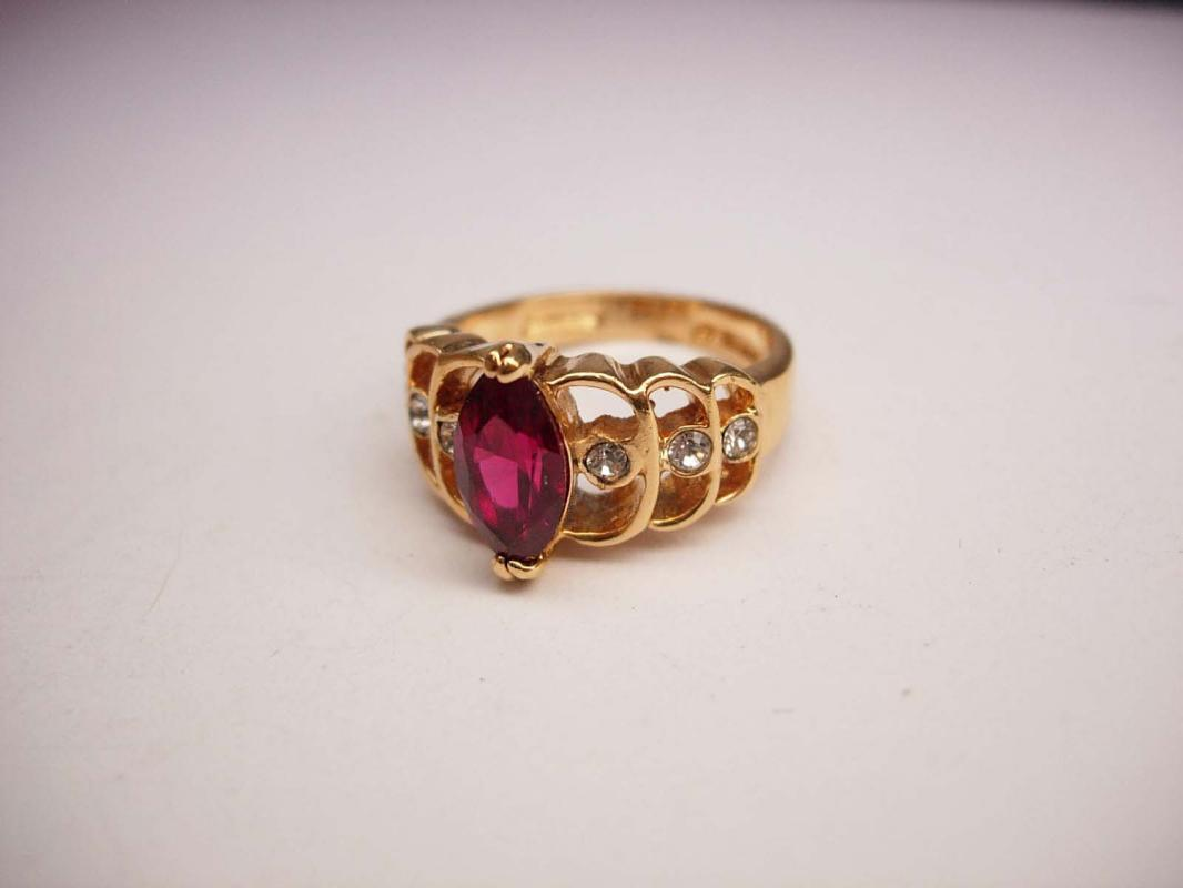 Faux Ruby Cocktail Ring Vintage jeweled Hallmarked