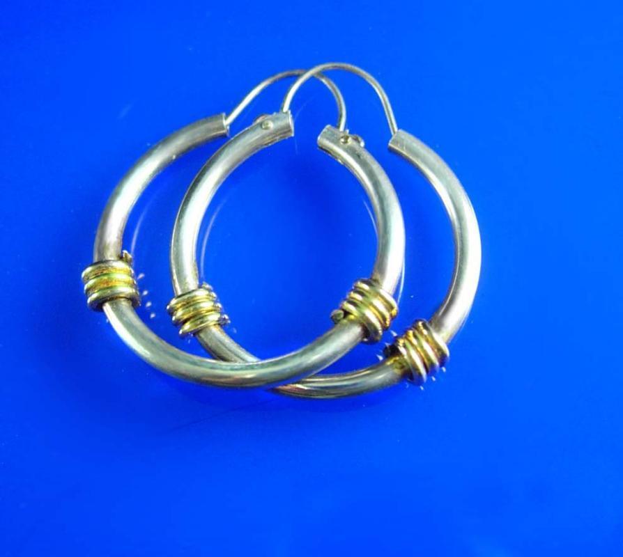 Sterling Hippie Earrings Vintage Pierced Ears for the GO GO Girl Jewelry silver hoopGold accents ladies teen fine jewelry