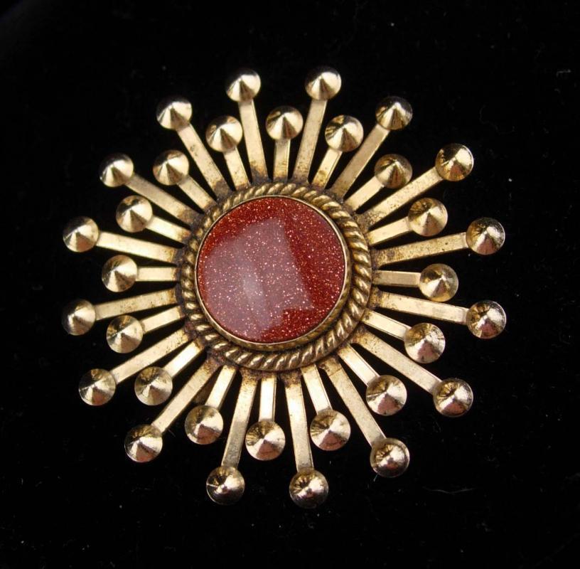 Vintage Goldstone brooch / starburst pin / Vitality and Energy / womens mens lapel pin / snowflake brooch