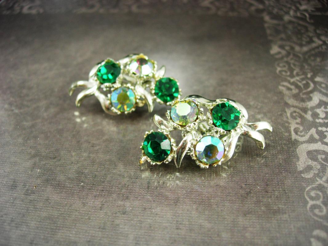 Green Rhinestone Earrings signed BSK Beauties Clip on Women's Wintry Elegance unusual redhead accesory ladies costume jewelry