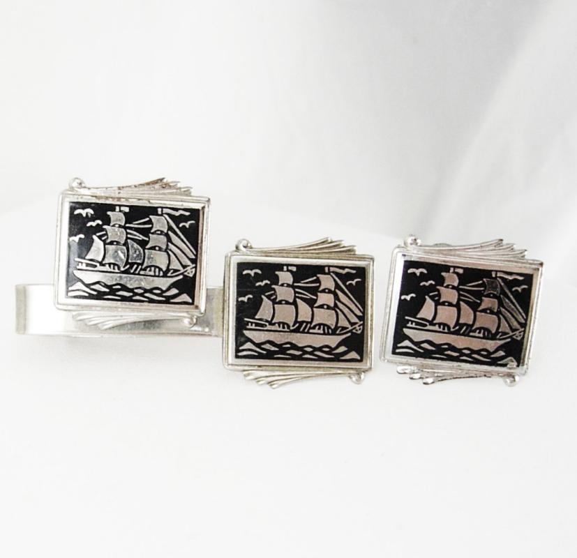 Pirate Cuff links Silver Vintage Ship Cufflinks schooner sailing boats tie clip set black enamel sailor Captain gift Tie bar
