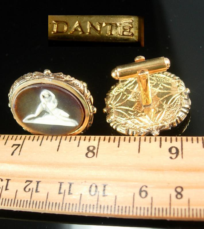 Erotic Female Cuff links lovers Vintage Cufflinks Nude goddess Incolay Masterpiece collection Dante Cuff cameo Accessory