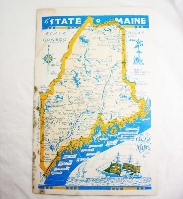 Vintage Road Map MAINE State of Tourist Old Orchard Beach Booth Bay on detailed state maine map, maine state political map, maine state county map, maine state weather map, maine state design, golden road maine map, maine state agriculture map, maine state rivers map, maine state timeline, maine state land map, me on the map, maine state food, maine state landscape map, maine state road atlas, maine state ocean map, maine state housing, maine state elevation map, maine state rail map, maine new hampshire road map, state of maine map,