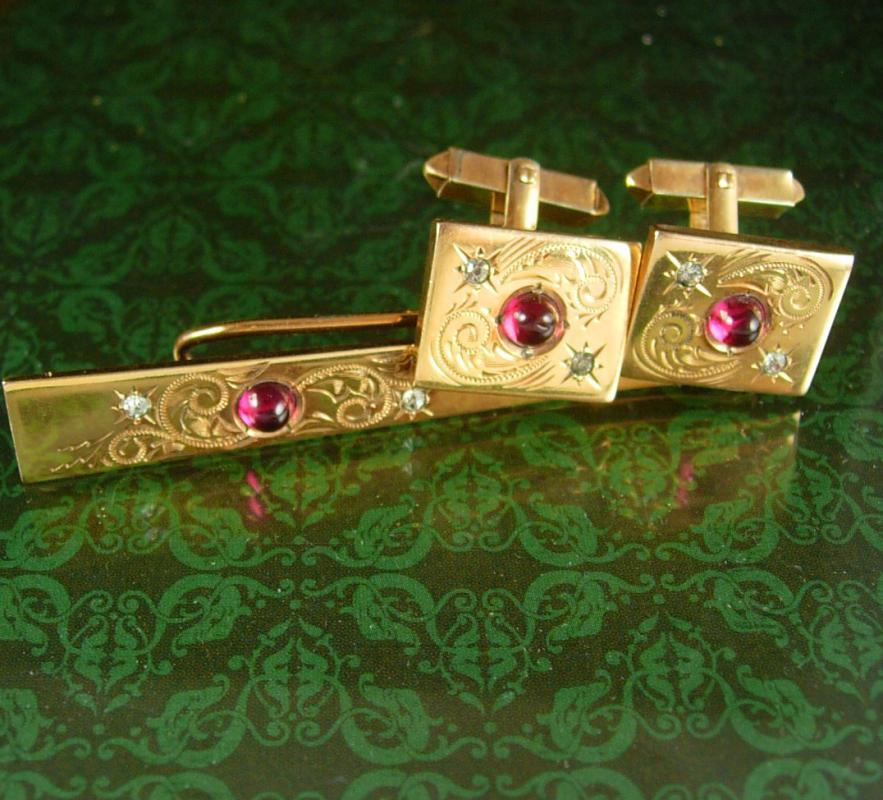 Red 12kt GOLD filled Cuff links Tie clip fancy Vintage  Cufflinks Birthstone January Designer Fine Jewelry 15th 40th 45th anniversary