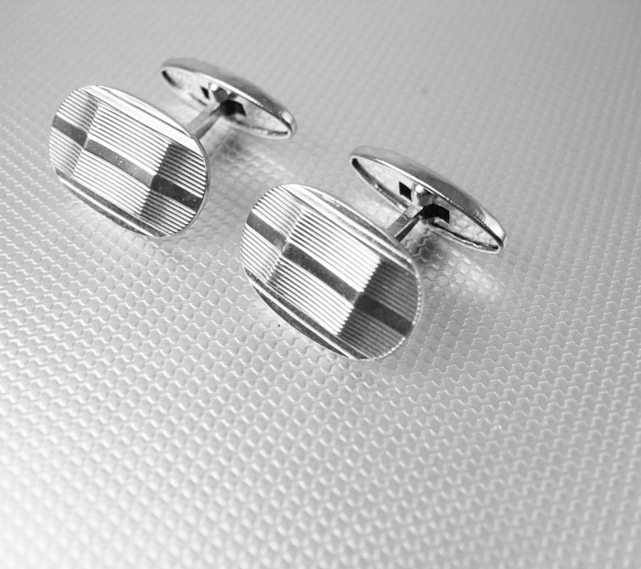 Silver Diamond Cut cuff links mens Grooved Cufflinks Vintage Beveled wedding accessory groom jewelry anniversary gift father of the bride