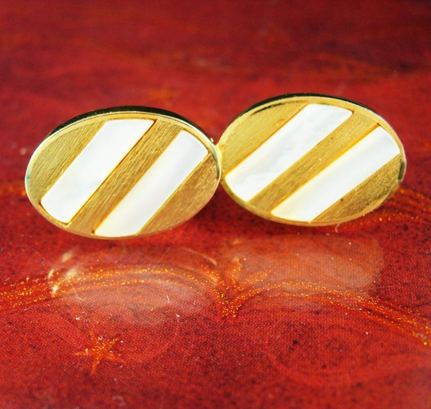 Exquisite Wedding Cufflinks Swank MOP mother of pearl gold Good luck prosperity stripe design Cuff links