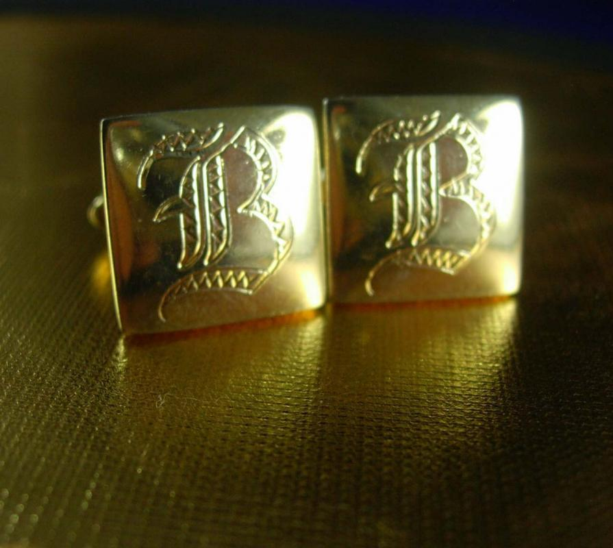 Wedding jewellery cuff links Vintage Letter B personalized initial Cufflinks Victorian design Fathers Day engraved gold jewelry